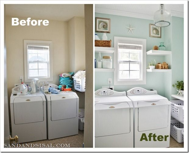 Before and after pictures of a small laundry room make-over.  Great layout for a tiny laundry room!