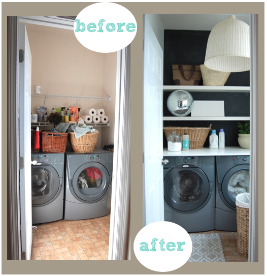 Cheap tiny laundry room make over.  Some shelves, paint, and good organization really turned this small laundry area around into a useful (and beautiful) space.