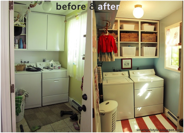 Tiny laundry room budget make-over idea.  Cost about 0 - mainly for the space-saving baskets.