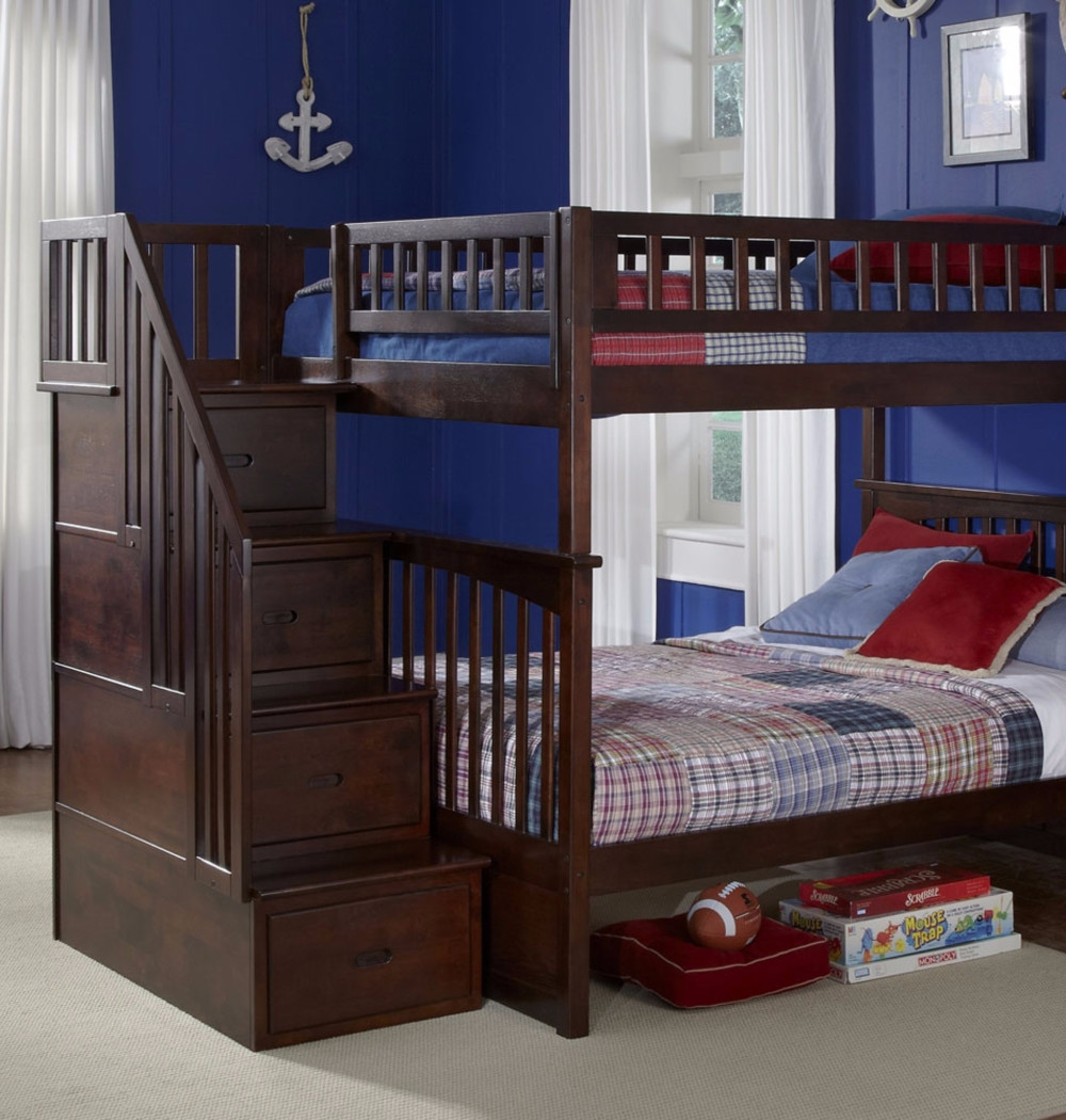 full over full bunk beds for boys room - boy room ideas - bunk bed ideas - bunk beds with stairs - bunk beds with storage