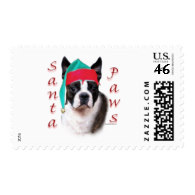 Boston Terrier Santa Paws Stamps