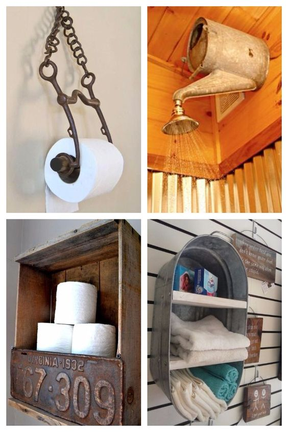 Outhouse bathroom decor ideas - these are fun ideas for a small country bathroom!