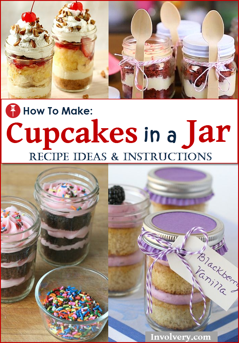 Awesome Creative Cupcakes Ideas:  DIY Cupcakes in a Jar!  DIY Instructions, How To Video and recipes.  Fun for birthday parties, baby showers, bridal showers or as a creative homemade gift idea.  These desserts freeze very well!