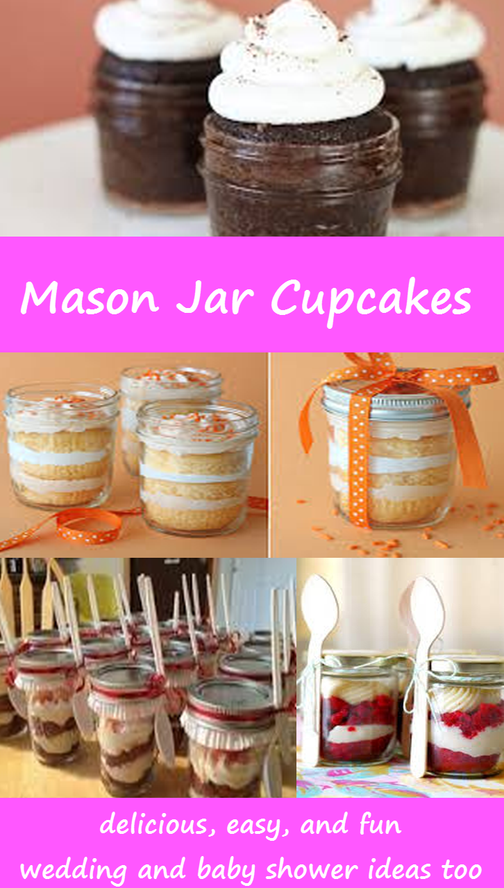 Let's make Mason Jar Cupcakes!  Great 'cake in a jar' ideas, recipes, and DIY tips - mason jar cupcake baby shower and wedding ideas too
