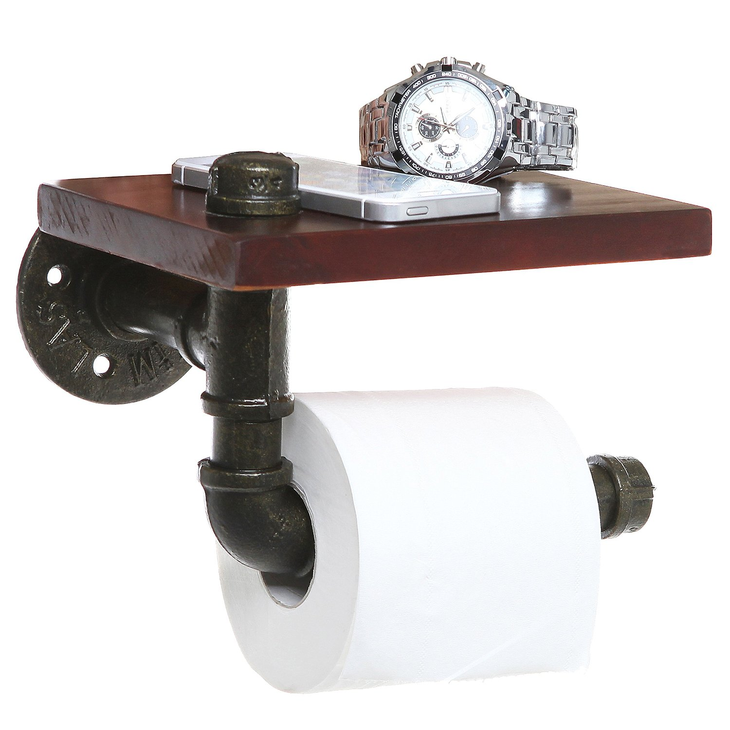 Love this rustic pipe shelf toilet paper holder... such a smart idea for the bathroom!