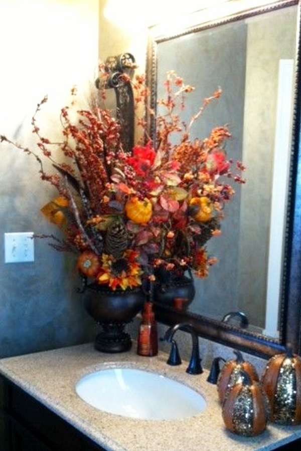 DIY Fall Bathroom Decor and Fall Bathroom Decorating ideas