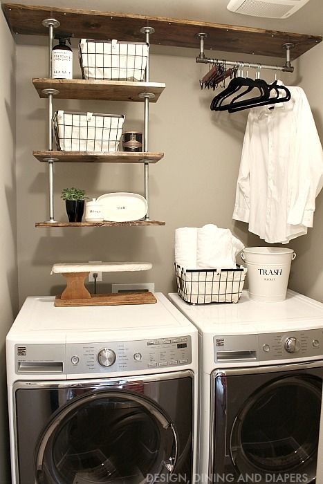 Tiny laundry room space-saving idea - hanging shelves to get more space in a small laundry room.