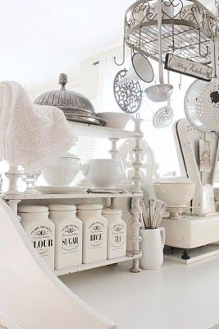 farmhouse canisters for a vintage country farmhouse kitchen - Stunning French white country kitchen with a shabby chic flair - farmhouse kitchen canisters