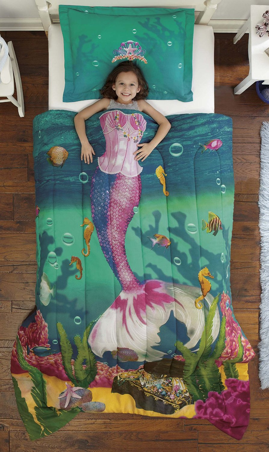 LOVE this! Mermaid bedding for a little girls bedroom - makes her look like a mermaid while she sleeps! #littlegirlsroom #bedroom #bedroomideas #bedroomdecor #diyhomedecor #homedecorideas #diyroomdecor #littlegirl #toddlergirlbedroomideas #toddler #diybedroomideas #pinkbedroomideas