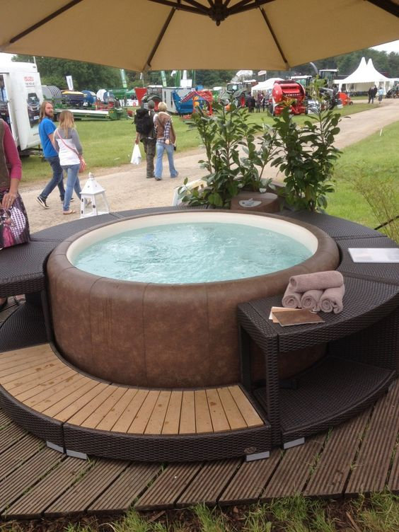perfect set up for a backyard patio deck inflatable hot tub!  These Lazy Spa hot tubs are so wonderful to have!