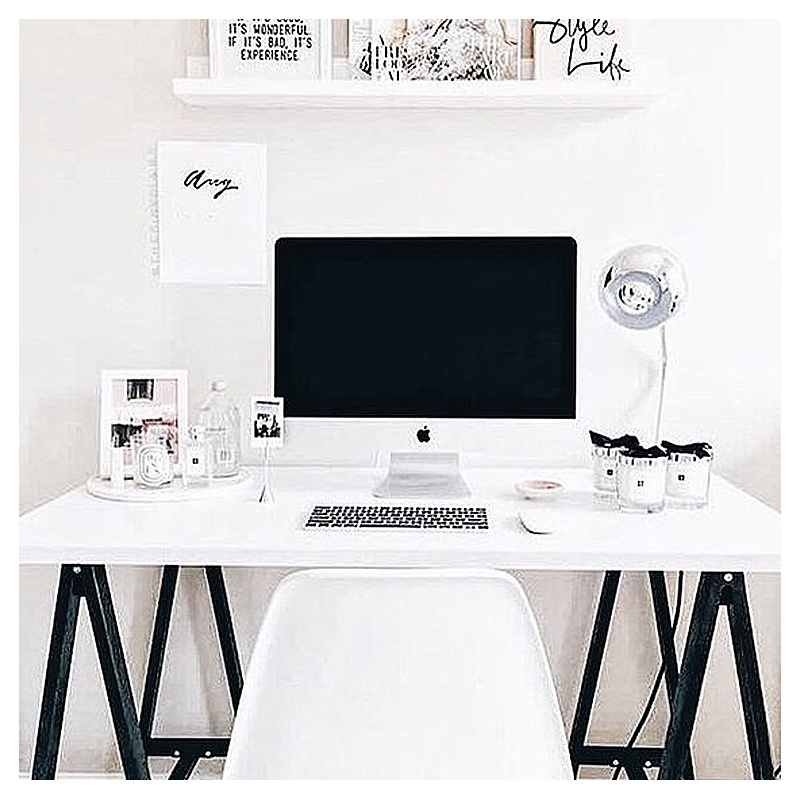 black and white home office ideas for women - Clean, white, and bright home office idea - LOVE the white desk and the clean, organized look of this home office space!