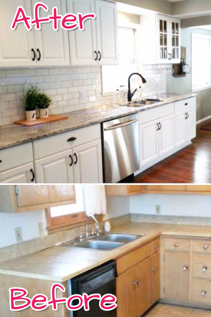 Subway tile! Before and After kitchen remodel pictures - just look how gorgeous this kitchen makeover turned out by knocking out a wall and updating with Subway tile!