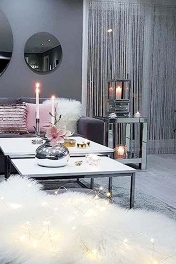 Gray living room decorating ideas - love the end table!