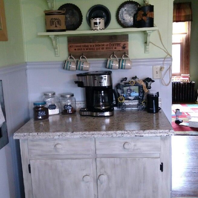 Corner coffee bar ideas - Super cute corner coffee bar in this small area of a kitchen.  LOVE it!