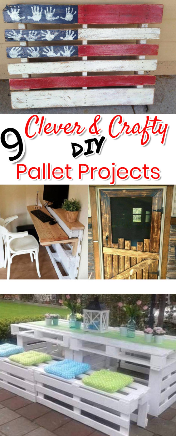 Pallet Projects! Such cute and UNIQUE Do It Yourself ideas of things to make with old pallet wood!  Love the DIY flag made with an old pallet and the scarecrow.  The DIY pallet wood desk is pretty clever too.  DIY pallet projects and crafts ideas.