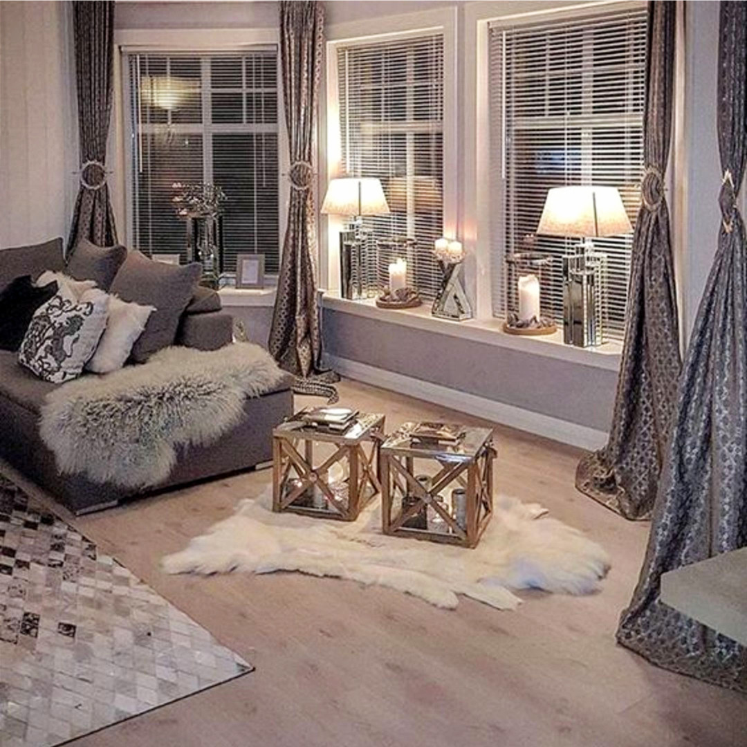 Neutral gray living room decor