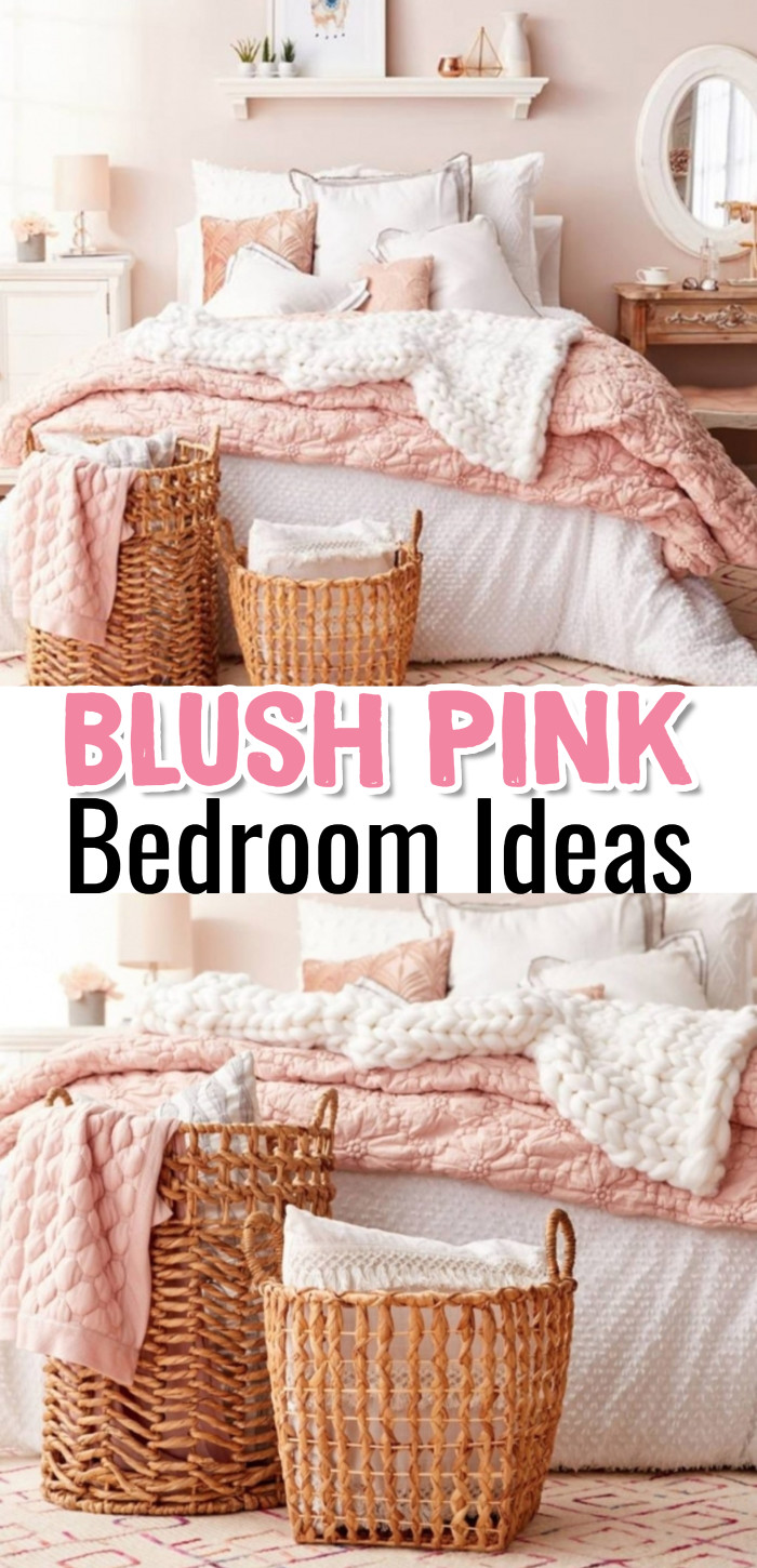Pink Bedroom Ideas: Blush Pink Bedroom Ideas - Bedroom Decor Ideas for a dusty pink / blush pink (or rose gold) room - grey and blush pink bedroom pictures, dusty rose bedroom ideas and more