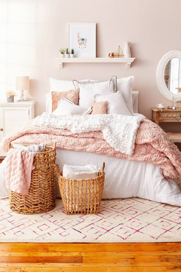 My dream blush pink bedroom!  Blush pink and white bedroom decor ideas and bedding