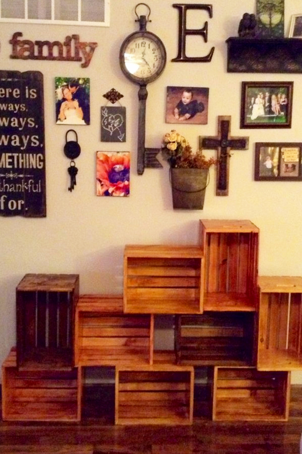 DIY crate bookshelves - stain and stack old wooden crates to make a bookshelf for your home