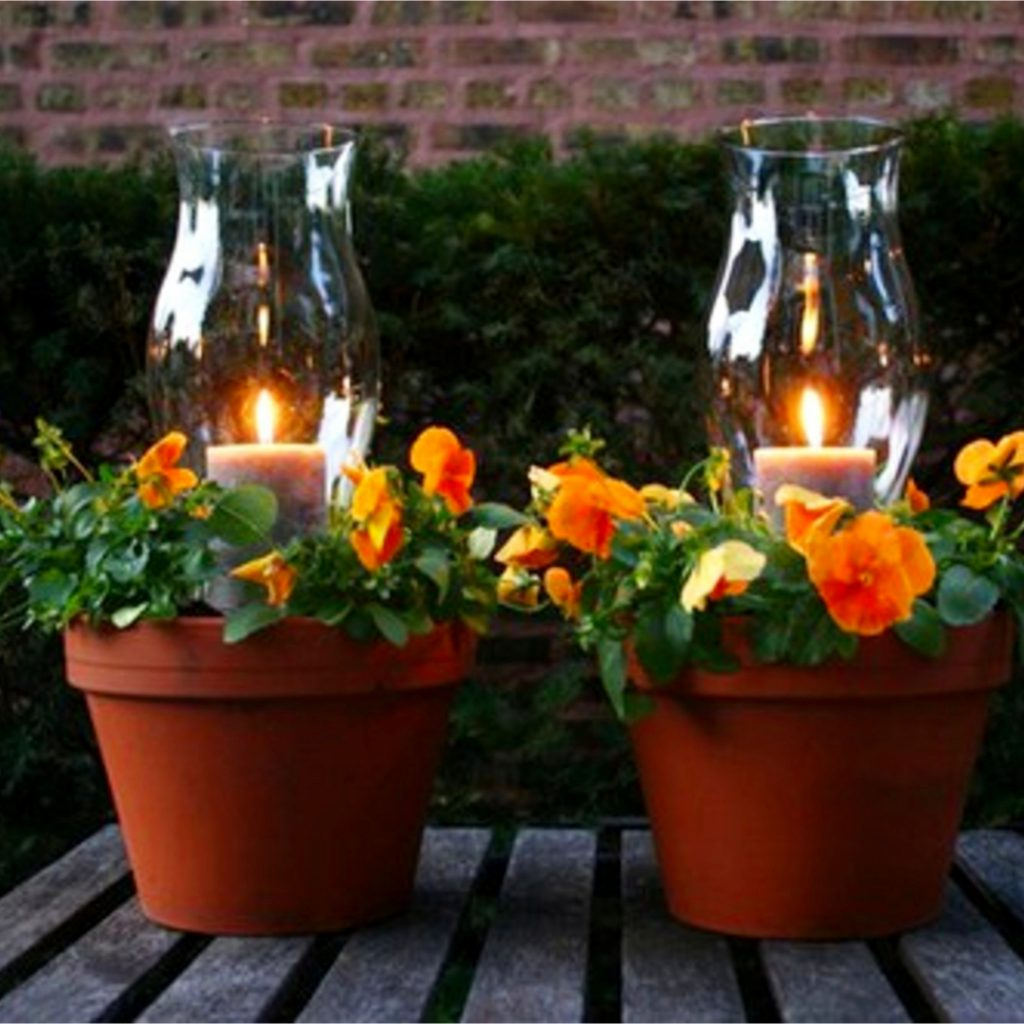 Ideas for clay pots - flower pot candle holder for the yard, deck or patio