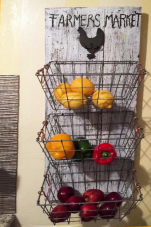 Kitchen baskets for storage - hanging kitchen fruit baskets for fruits and vegetables storage DIY ideas
