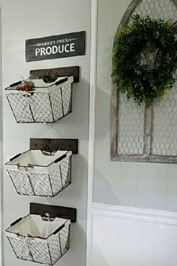 wall mounted hanging baskets ideas for fruit and vegetable storage in your kitchen