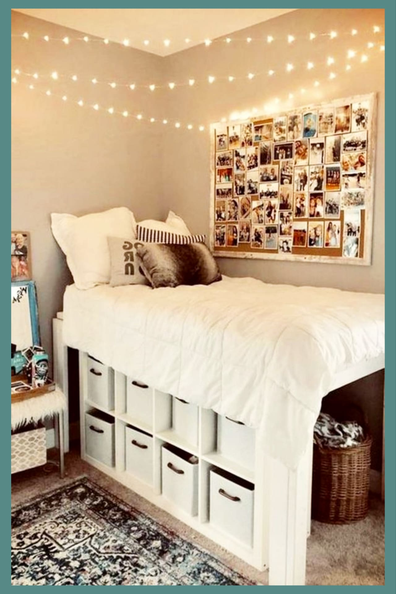 Cute dorm room ideas!  I like the storage area under the dorm room loft bed!