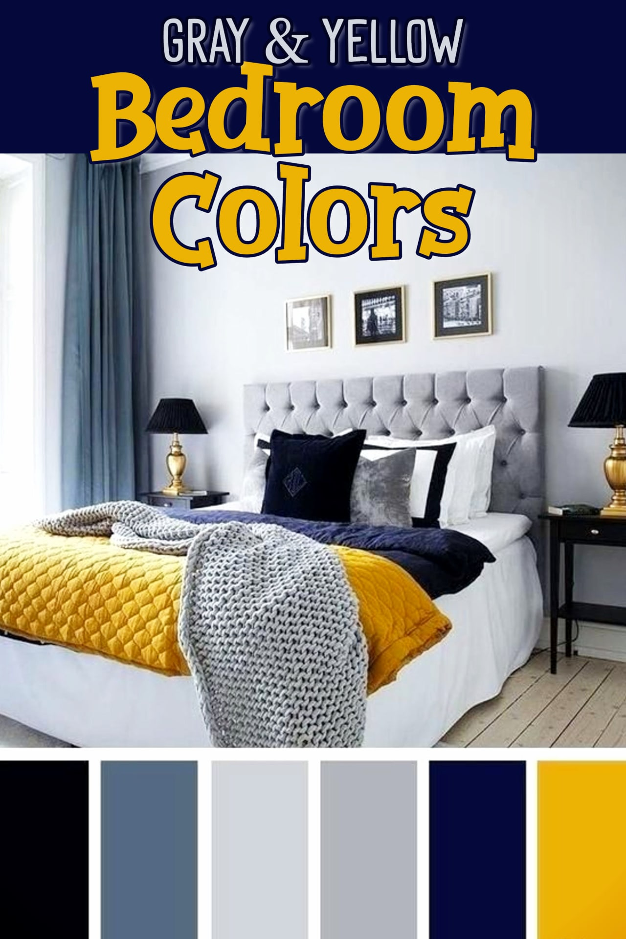 Bedroom accent colors for a gray and yellow bedroom - gray, yellow, blue and navy blue bedroom decorating ideas- beautiful master suite bedroom colors, dorm room colors or a teen bedroom color scheme.  Really brightens up a small apartment bedroom too!