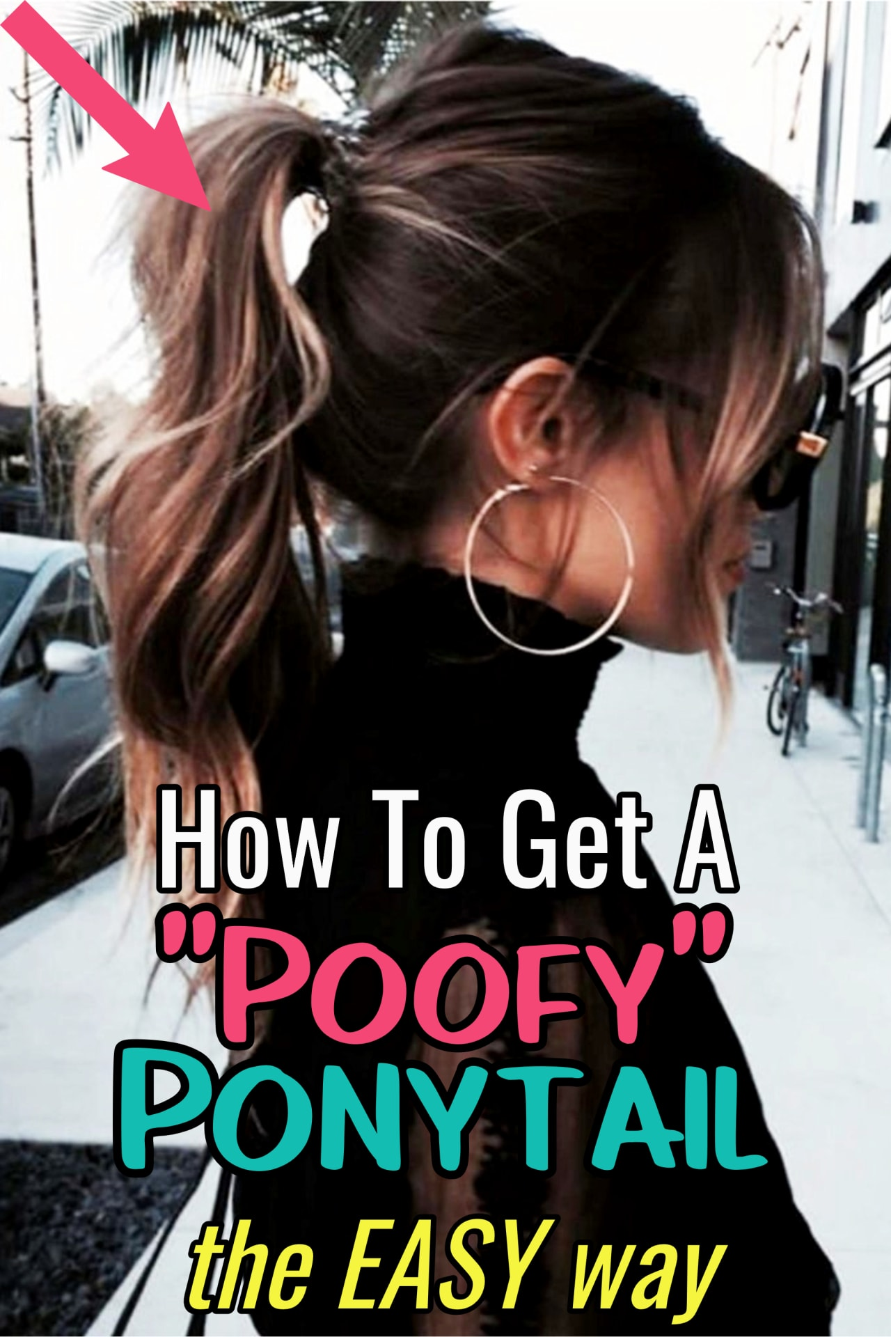Poofy Ponytail Tutorial - how to get a poofy ponytail the EASY way!  Wondering how to do a poofy ponytail or how to make YOUR ponytail look poofy?  These cute and easy ponytails for medium length hair (or long hair) are THE way to get a poofy high ponytail.  Get simple instructions and see more poofy ponytail hairstyles...