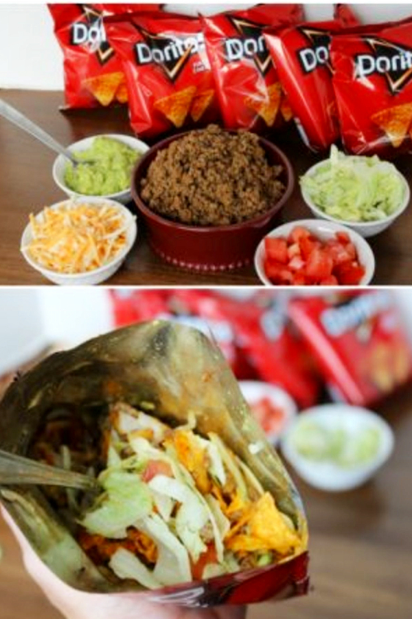 BBQ Party and Summer Cookout Food iIdeas - Walking Tacos for a crowd.  My family LOVES these Dorito bags fixed like tacos