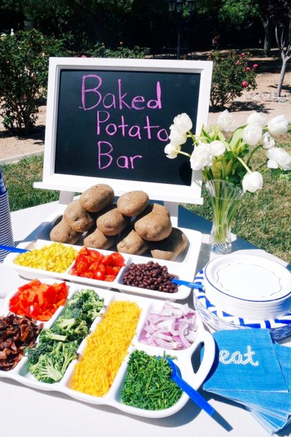 Summer cookout food ideas or for any party with a crowd.  Love this potato bar idea for a BBQ party or ANY party
