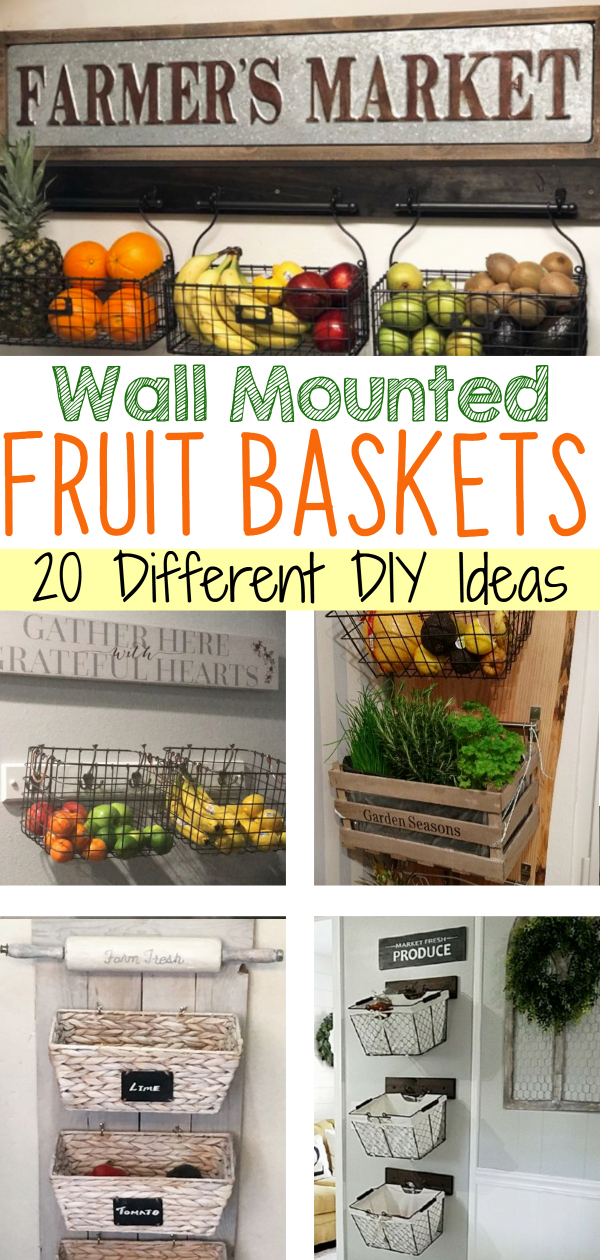 fruit and vegetable storage baskets ideas - DIY hanging fruit basket for your kitchen wall for more storage and counterspace