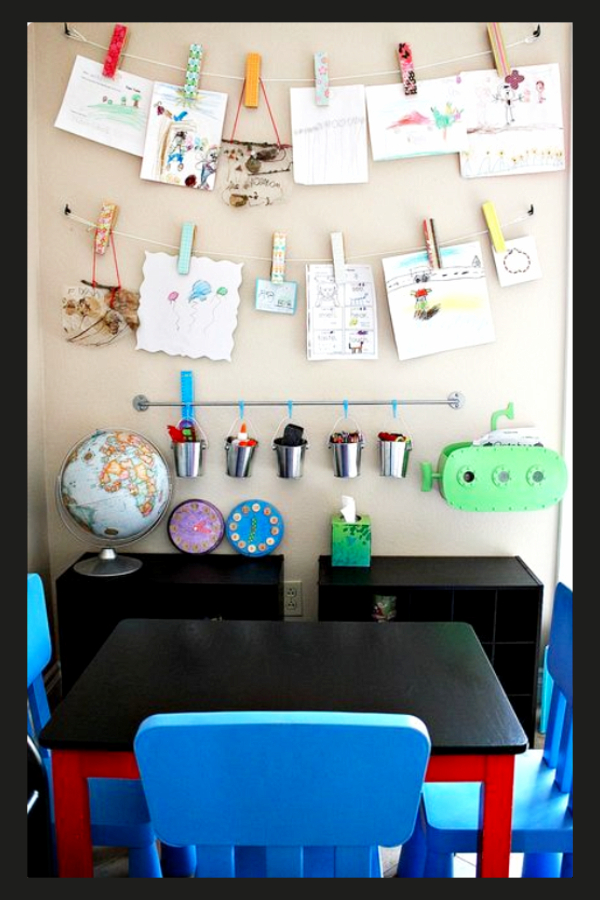 Kids artwork display ideas - craft, homework and art display wall ideas set up as a homework station