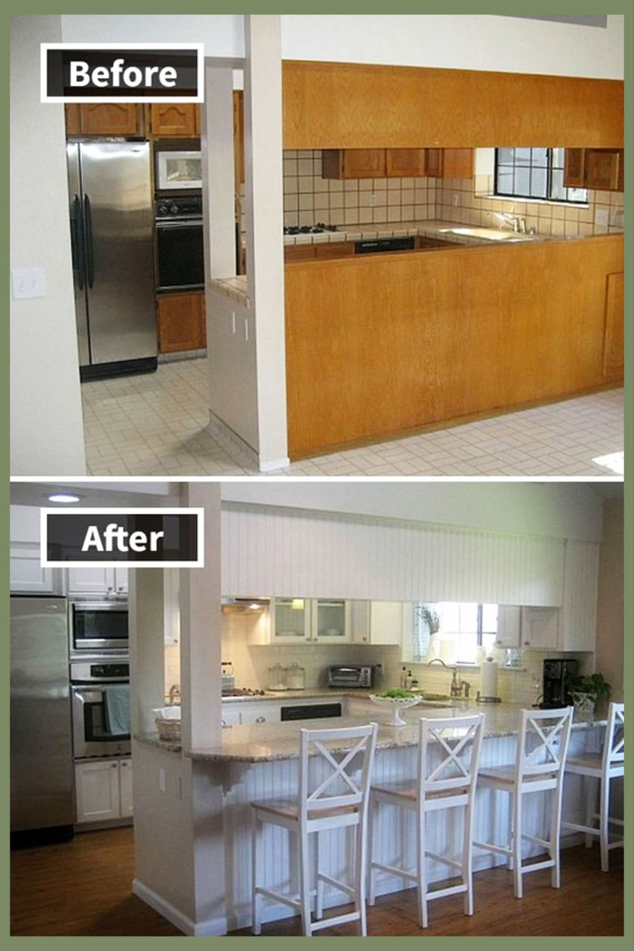 Before and AFTER!  Small kitchen remodel ideas on a budget to makeover and remodel a tiny fixer upper kitchen in farmhouse country kitchen style