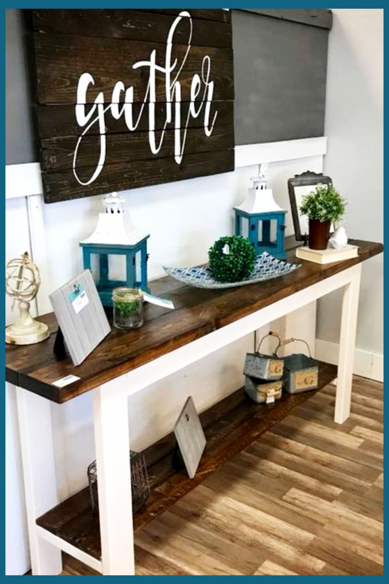 Foyer decorating ideas - small farmhouse foyer with entryway table, pallet gather wall decor and farmhouse style