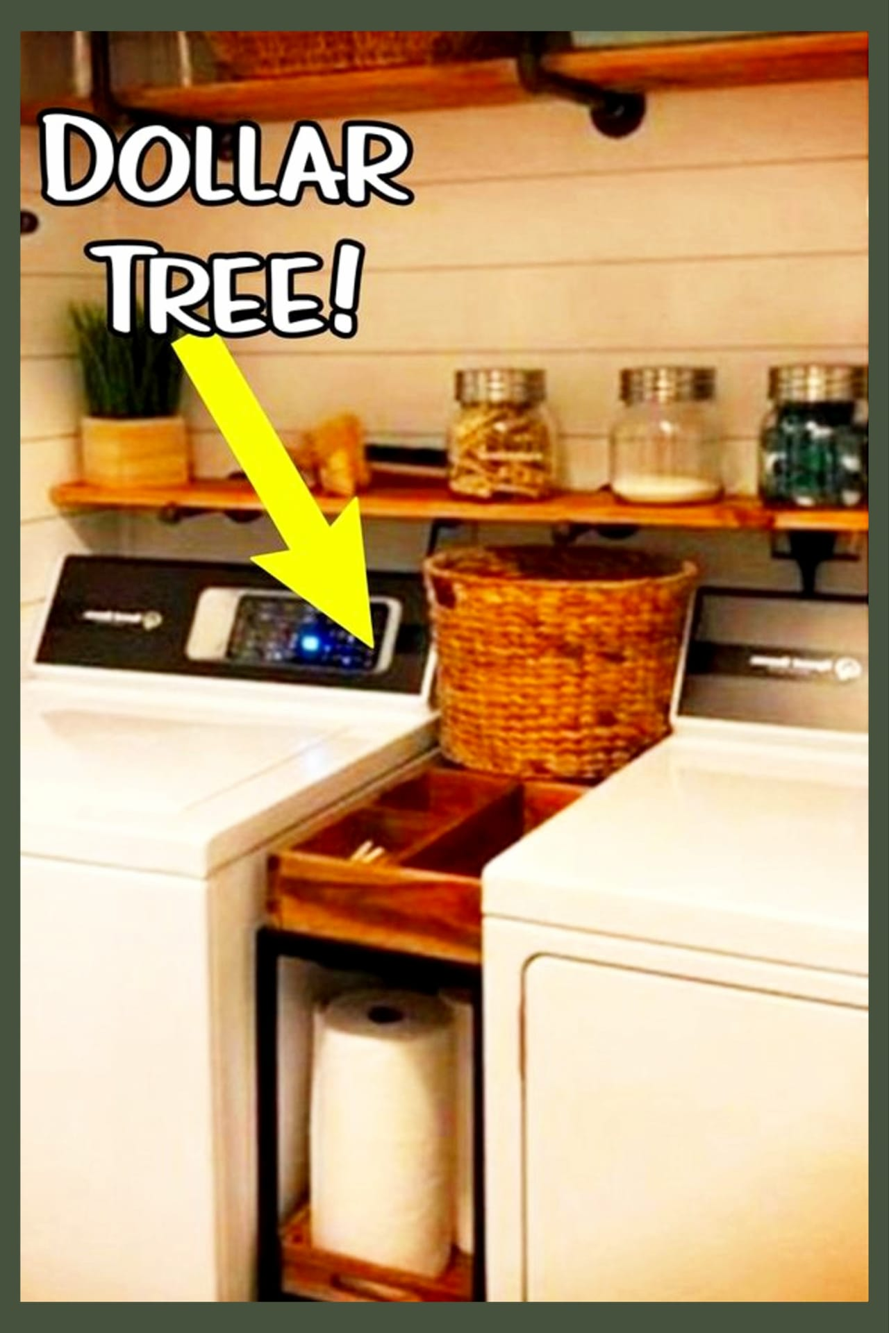 Small laundry room ideas on a budget - tiny laundry room ideas and cute laundry room ideas - also laundry room organization and storage ideas - dollar tree organizing the laundry room
