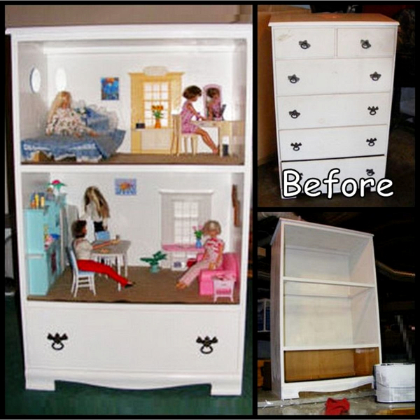 DIY repurposed dresser ideas - How to repurpose a dresser without drawers - make a doll house out of an old dresser without drawers