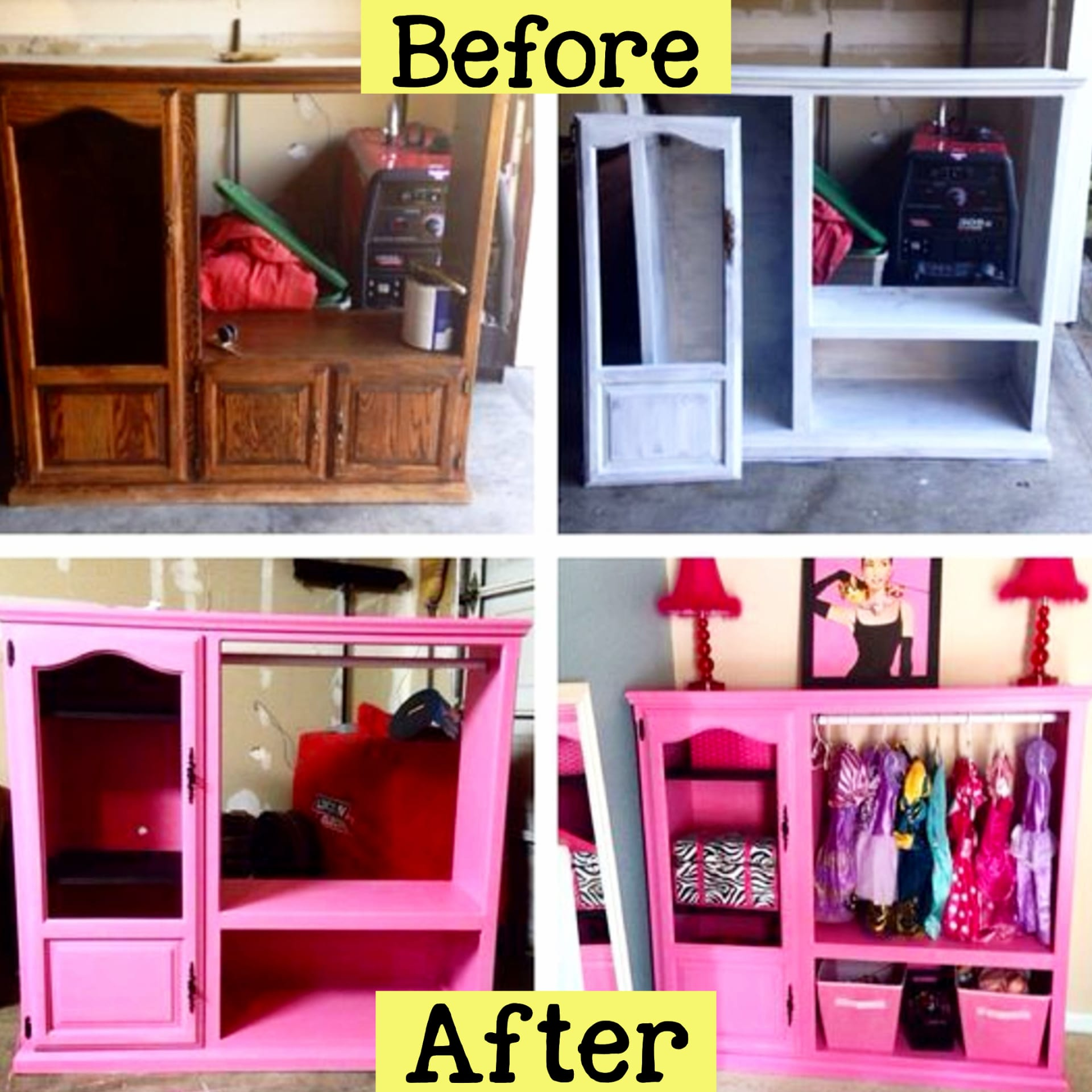 repurposed furniture ideas - turn an old entertainment center into a storage wardrobe dresser for a little girl's bedroom - repurposed dressers and old furniture ideas