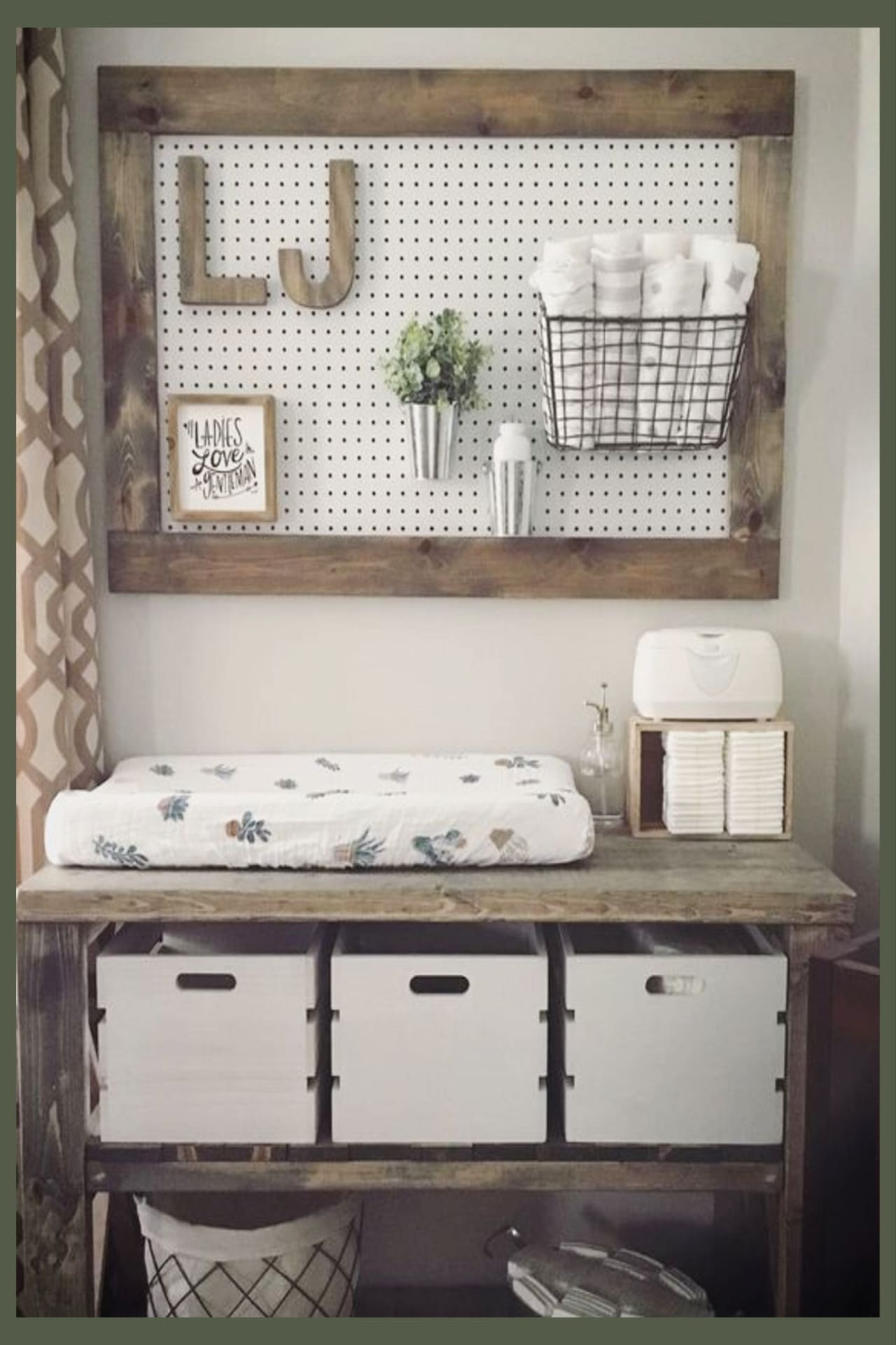 Baby boy rustic nursery ideas - rustic nursery changing table and wall decor ideas