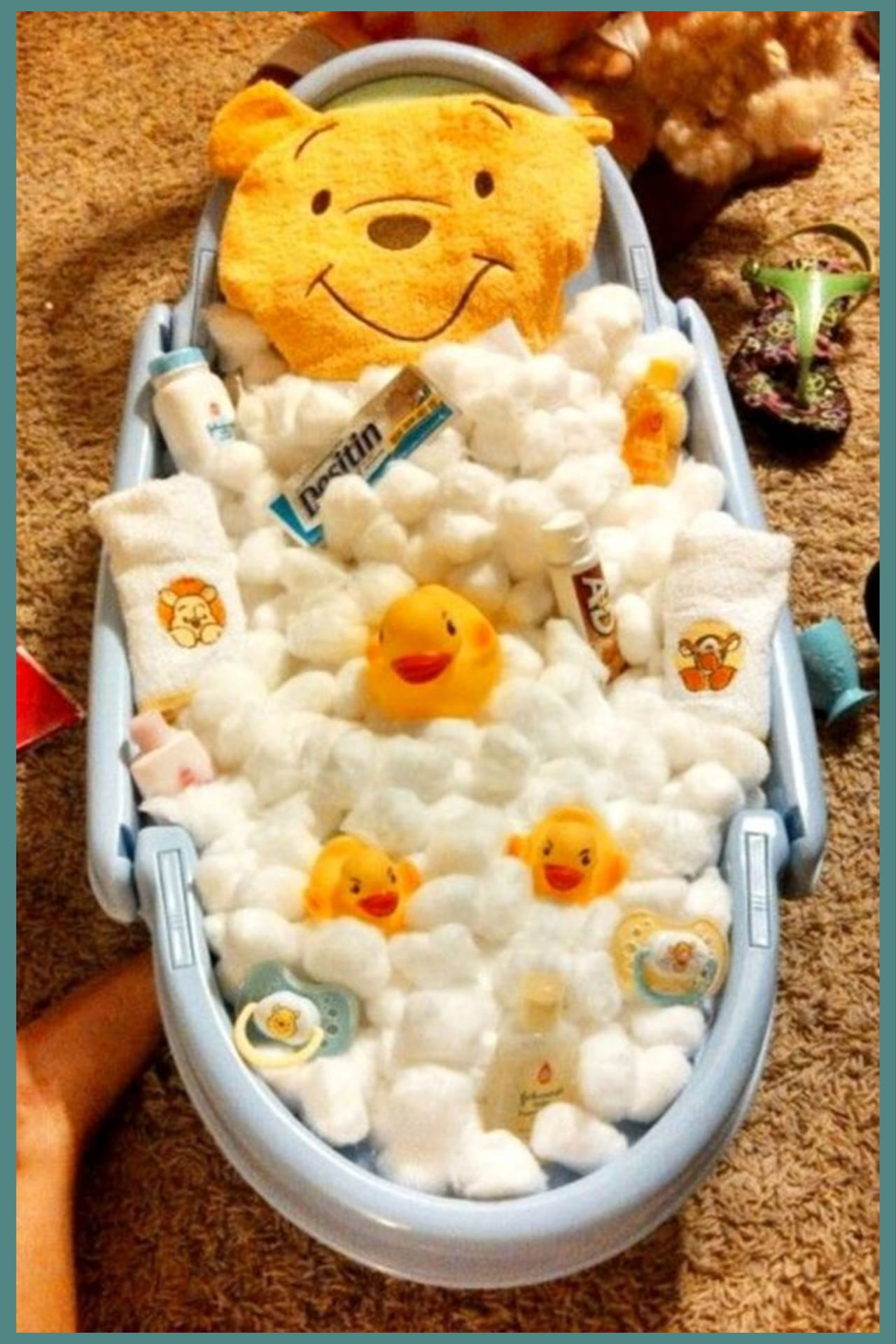 DIY baby shower gifts! Homemade Baby Bathtub Gift Basket shower gift ideas - Baby shower gift ideas on a budget - unique and cheap baby shower gifts to make for girls for boys or for gender unknown (gender neutral) - creative baby basket ideas and winnie the pooh baby shower ideas