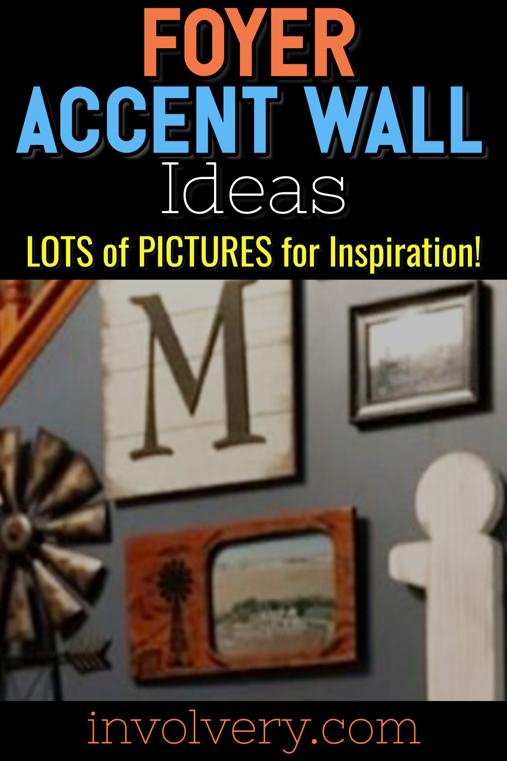 Foyer Accent Wall Ideas - Easy DIY decorating ideas for entry hall wall PICTURES and foyer decor inspiration to copy!  There's even photo wall ideas without frames for your entryway wall and staircase accent wall ideas.  All these foyer wall decor ideas are GORGEOUS and easy home decor ideas to dress up the entryway in your home. I really love the welcome wall decor for small foyers - so pretty!