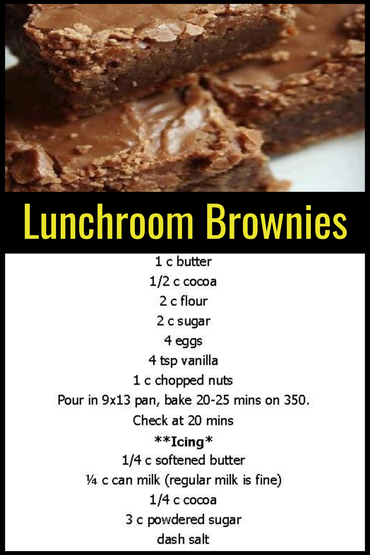 Grandma's Desserts - Dessert recipes that your mom, your grandmother (or your lunch lady) used to make from scratch - lunchroom brownies recipe