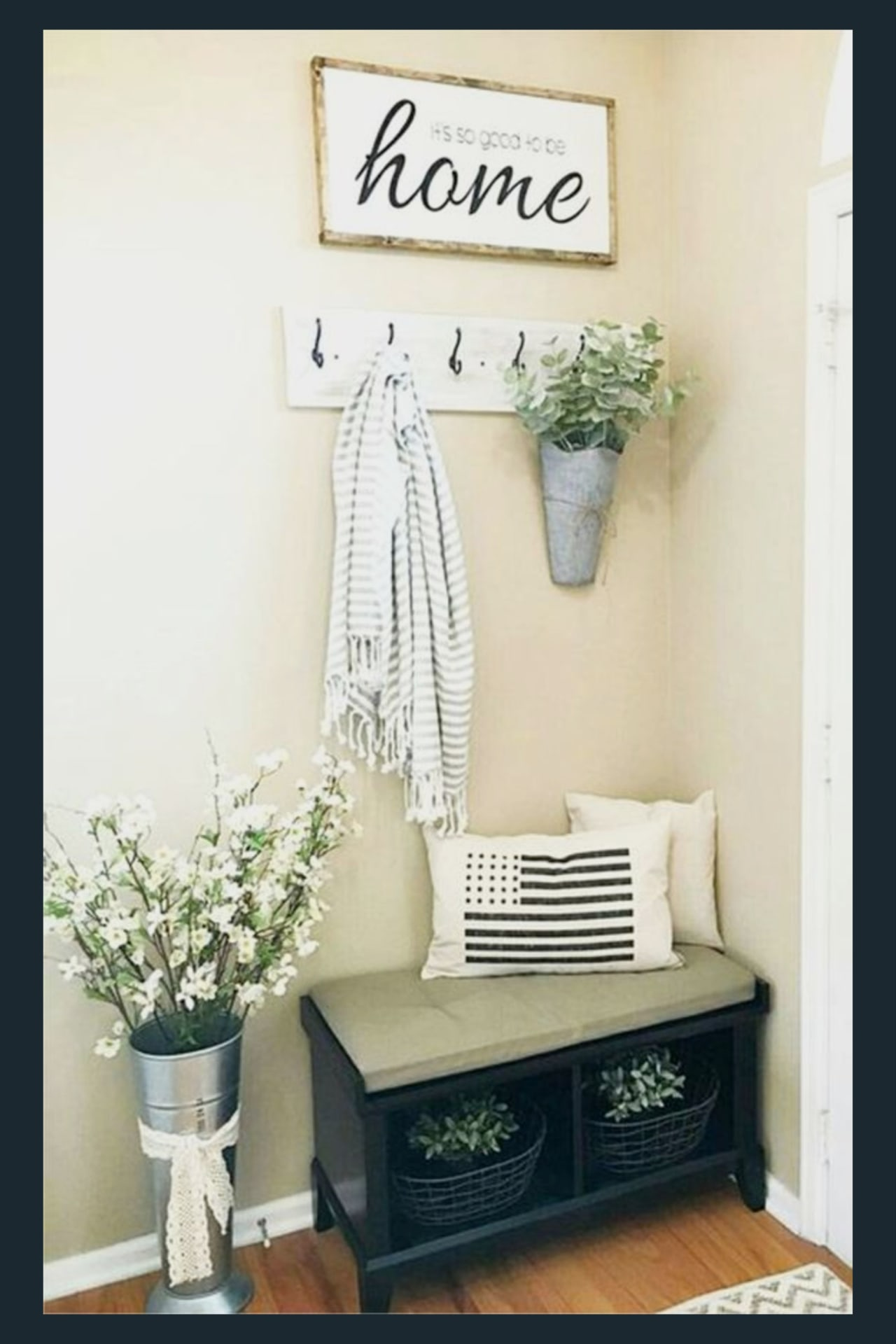 Foyer decorating ideas - Small cottage farmhouse foyer decorating ideas - love this small corner entryway decor - perfect for a small house or small apartment entry