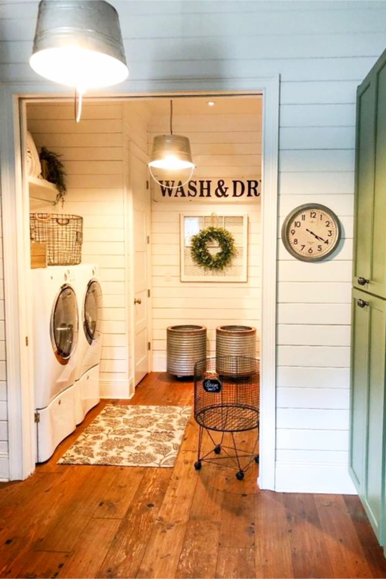 Farmhouse laundry room ideas - small basement laundry room and more Basement Ideas!  Gorgeous DIY finished basement ideas on a budget - partially finished basement ideas and small basement decor ideas for finishing and decorating a basement on a budget