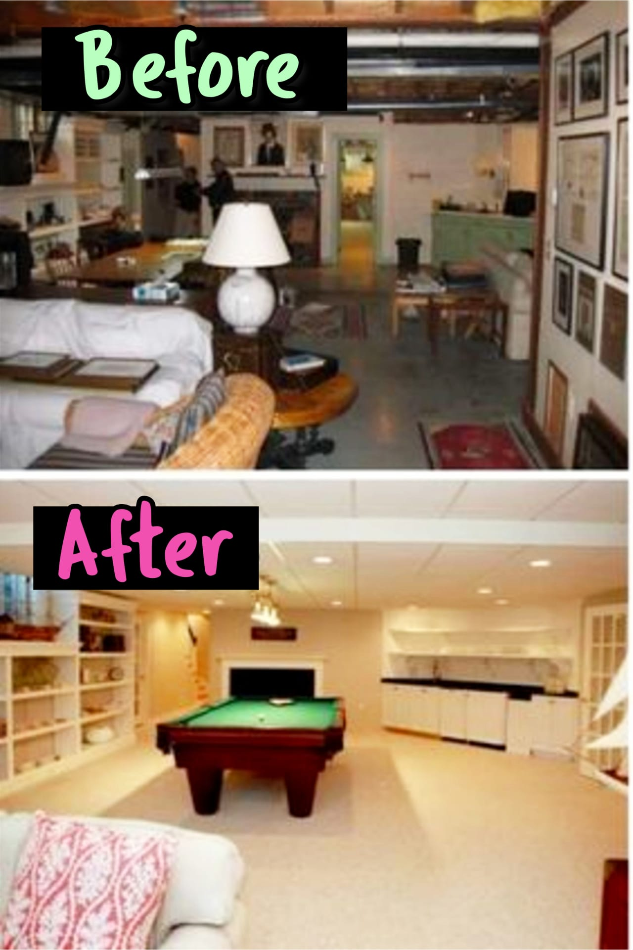 Small finished basement before after remodel ideas - Basement Ideas!  Gorgeous DIY finished basement ideas on a budget - partially finished basement ideas and small basement decor ideas for finishing and decorating a basement on a budget