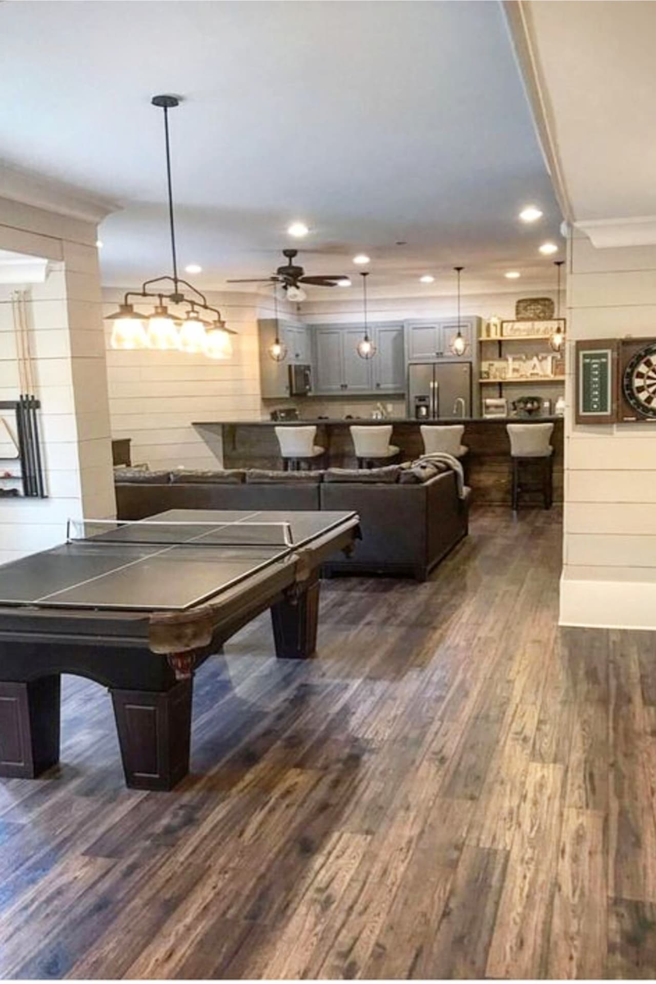 Finished farmhouse basement ideas - basement bar area, den area and game / rec room area.  Basement Ideas!  Gorgeous DIY finished basement ideas on a budget - partially finished basement ideas and small basement decor ideas for finishing and decorating a basement on a budget
