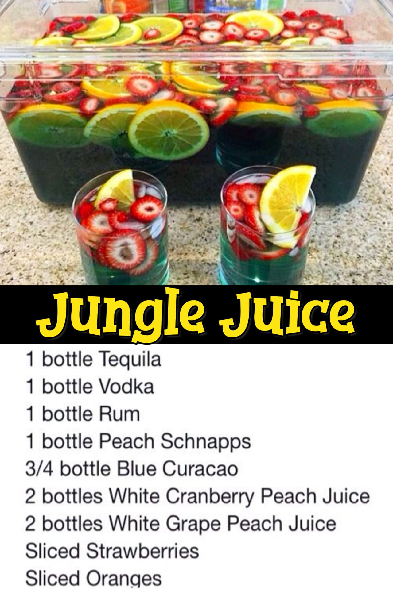 Jungle Juice Punch Recipe - Easy Punch Recipes for a Crowd and Easy Party Drinks Ideas - Cranberry Vodka Punch, Pineapple Orange Juice Alcoholic Drinks, Punch for 50 and Simple Punch Recipes for a Crowd, Party, Brunch, Cookout or Bridal Shower - non-alcoholic punch recipes and simple alcoholic punch recipes, non-alcoholic holiday punch, easy fruit punch recipes, easy punch recipes with sprite and pineapple juice, jungle juice recipe with fruit