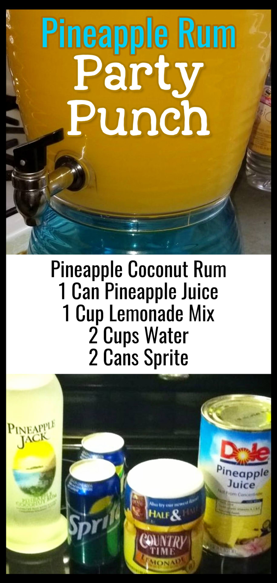 Pineapple Rum Party Punch Recipe - Easy Punch Recipes for a Crowd and Easy Party Drinks Ideas - Cranberry Vodka Punch, Pineapple Orange Juice Alcoholic Drinks, Punch for 50 and Simple Punch Recipes for a Crowd, Party, Brunch, Cookout or Bridal Shower - non-alcoholic punch recipes and simple alcoholic punch recipes, non-alcoholic holiday punch, easy fruit punch recipes, easy punch recipes with sprite and pineapple juice, jungle juice recipe with fruit