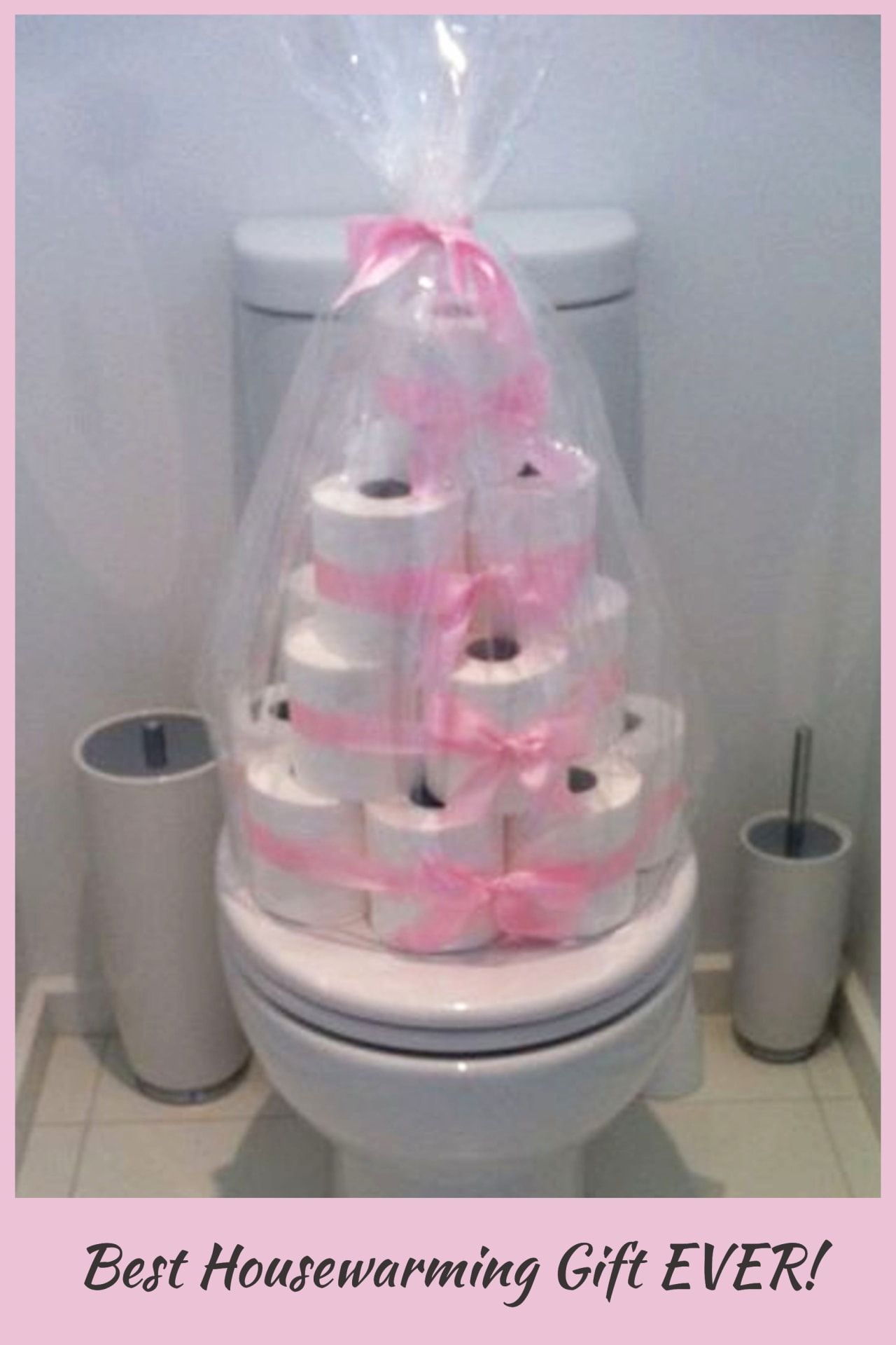 Best housewarming gift EVER!  Such practical and useful housewarming gift ideas for first time homeowners in their very first home - toilet paper tower welcome to your new home gift basket ideas