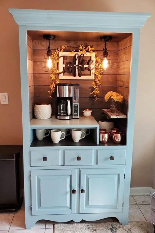 coffee bar ideas with repurposed antique dresser